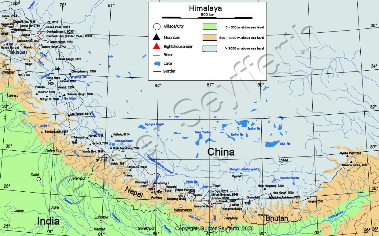 Himalaya Berge Karte.Gesamtuebersicht Ueber Den Himalaya